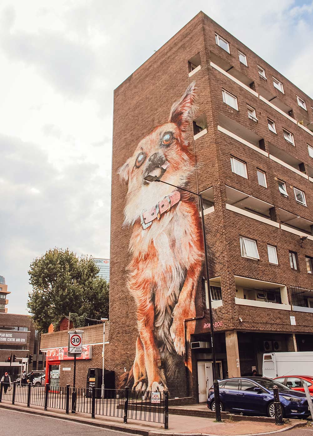 giant chihuahua street art Chrisp Street Market